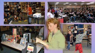 Lynda Williams presents the Okal Rel Universe to DP Todd students April 24 2008, with help from volunteer reader Nicole and a bit of sword play