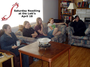 Saturday reading with the family at Lott residence home of author Lynda Williams
