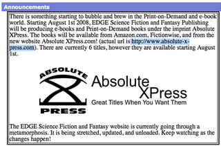 Second ORU line coming out from Absolute X Press an imprint of Edge Science Fiction and Fantasy Publishing