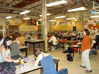 Lynda talks to art students