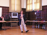 Lynda presenting Amel and Identity paper at Cyber3 Mansfield College Oxford July 2008