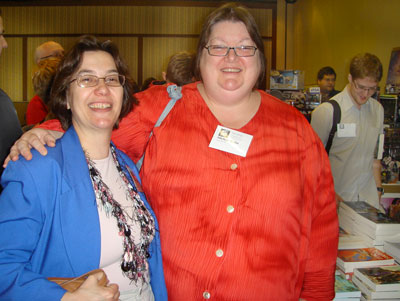 Michele Dube at VCON 2007 in Vancouver with author Lynda Williams