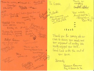 Thank you cards from Skeena Jr. Secondary School