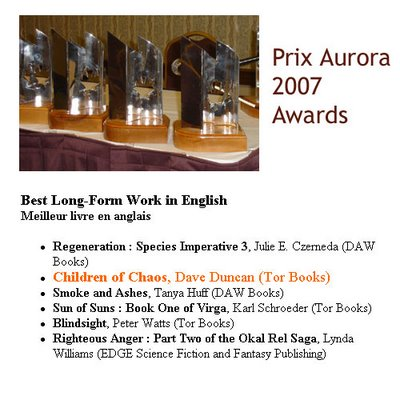 Righteous Anger short listed for the Prix Auorora 2007